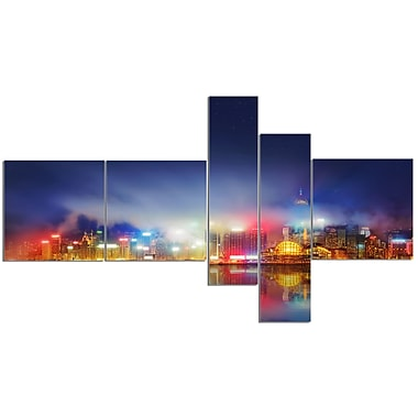 East Urban Home 'Colorful Hong Kong Skyline' Graphic Art Print Multi-Piece Image on Canvas