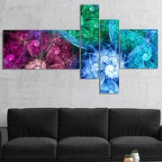 East Urban Home 'Multi Color Bright Exotic Flowers' Graphic Art Print Multi-Piece Image on Canvas