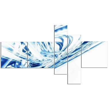 East Urban Home '3D Abstract Art Blue Fractal' Graphic Art Print Multi-Piece Image on Canvas