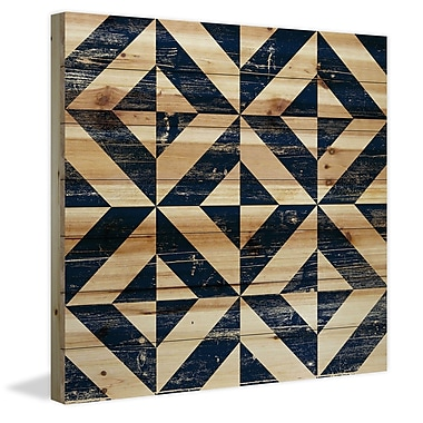 Marmont Hill 'Square Jigsaw' Painting Print on Natural Pine Wood; 18'' H x 18'' W