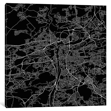 East Urban Home 'Prague Roadway' Graphic Art on Wrapped Canvas in Black; 18'' H x 18'' W x 0.75'' D