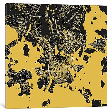 East Urban Home 'Helsinki' Graphic Art on Wrapped Canvas in Gold; 37'' H x 37'' W x 0.75'' D