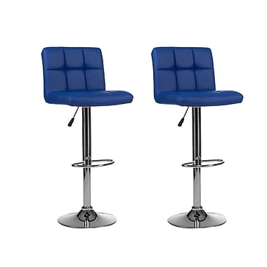 Winport Industries Mid-back Adjustable Height Swivel Bar Stool (Set of 2); Blue