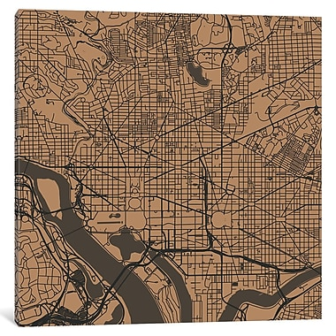East Urban Home 'Washington D.C. Roadway' Vertical Graphic Art on Wrapped Canvas In Gold