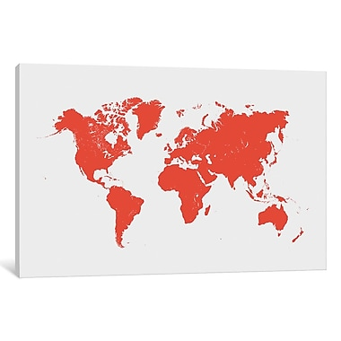 East Urban Home 'World' Graphic Art on Wrapped Canvas In Red; 40'' H x 60'' W x 1.5'' D