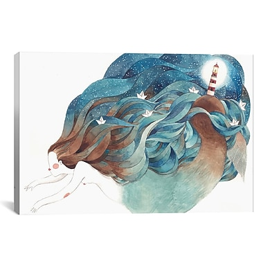 East Urban Home 'Light House Mermaid' Graphic Art on Wrapped Canvas; 18'' H x 26'' W x 0.75'' D