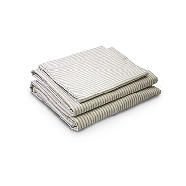 Gracie Oaks Rivera Ticking Twill 200 Thread Count 4 Piece 100pct Percale Cotton Sheet Set; King