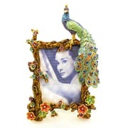 World Menagerie Peacock Metal Picture Frame; Blue