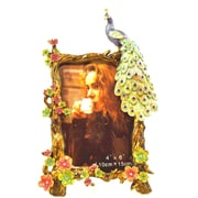 World Menagerie Hand Painted Peacock Picture Frame; Blue