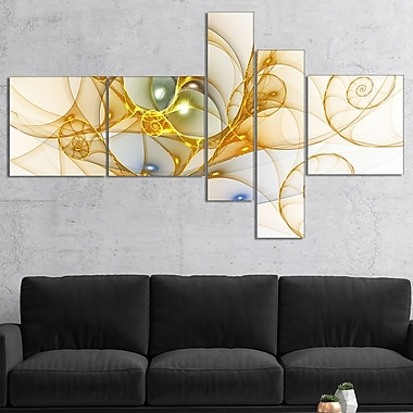 East Urban Home 'Golden Colored Curly Spiral' Graphic Art Print Multi-Piece Image on Canvas