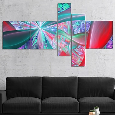 East Urban Home 'Red Blue Fractal Exotic Plant Stems' Graphic Art Print Multi-Piece Image on Canvas