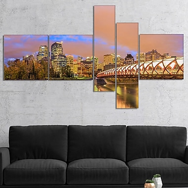 East Urban Home 'Calgary at Night' Photographic Print Multi-Piece Image on Canvas