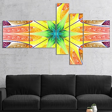 East Urban Home 'Yellow Glowing Fractal Texture' Graphic Art Print Multi-Piece Image on Canvas