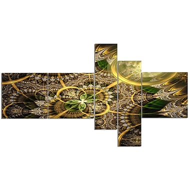East Urban Home 'Dark Green and Gold Fractal Flower' Graphic Art Print Multi-Piece Image on Canvas