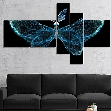 East Urban Home 'Turquoise Fractal Butterfly in Dark' Graphic Art Print Multi-Piece Image on Canvas