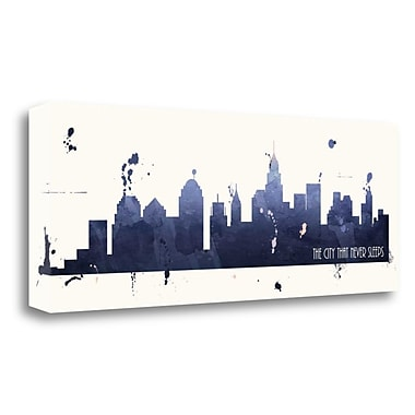 Tangletown Fine Art 'True Blue New York' Graphic Art Print on Wrapped Canvas; 13'' H x 34'' W