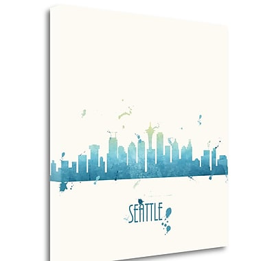 Tangletown Fine Art 'True Blue Seattle - Sq.' Graphic Art Print on Wrapped Canvas; 20'' H x 20'' W