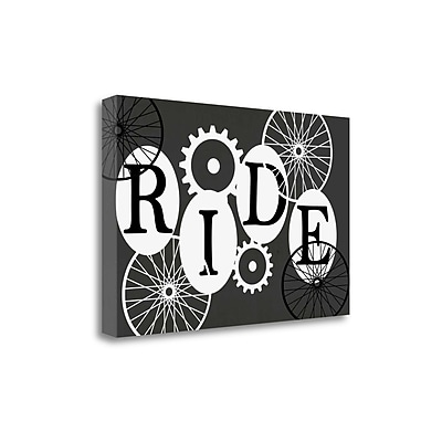 Tangletown Fine Art 'Ride' Textual Art on Canvas in Black; 18'' H x 28'' W