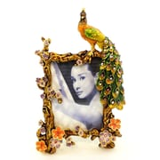 World Menagerie Peacock Metal Picture Frame; Orange