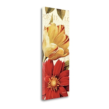 Tangletown Fine Art 'Poesie Florale Panel II' Graphic Art Print on Canvas; 32'' H x 13'' W