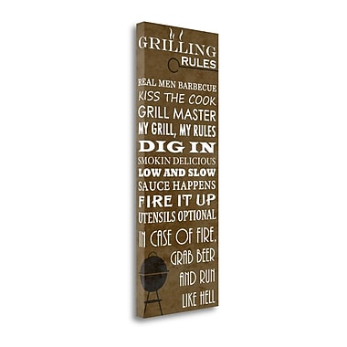 Tangletown Fine Art 'Grilling Rules' Textual Art on Canvas; 39'' H x 15'' W