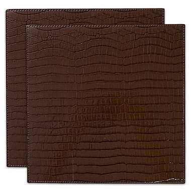 Bloomsbury Market Damiana Crocodile All Seasons Faux Leather Placemat (Set of 2); Chocolate
