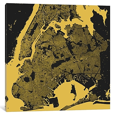 East Urban Home 'New York City' Graphic Art on Wrapped Canvas in Yellow; 37'' H x 37'' W x 0.75'' D