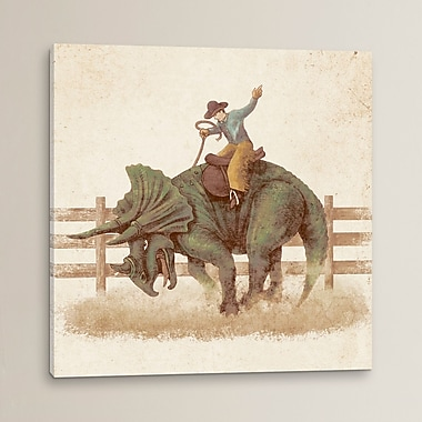 East Urban Home 'Dino Rodeo' Painting Print on Wrapped Canvas; 26'' H x 26'' W x 0.75'' D