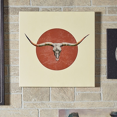 East Urban Home 'Longhorn' Graphic Art on Wrapped Canvas; 37'' H x 37'' W x 0.75'' D