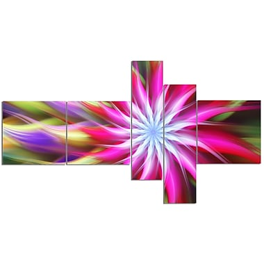 East Urban Home 'Pink Flower Dance Bright Spiral' Graphic Art Print Multi-Piece Image on Canvas