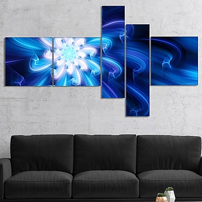 East Urban Home 'Exotic Blue Flower Dance of Petals' Graphic Art Print Multi-Piece Image on Canvas