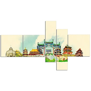 East Urban Home 'Beijing Panoramic View' Watercolor Painting Print Multi-Piece Image on Canvas