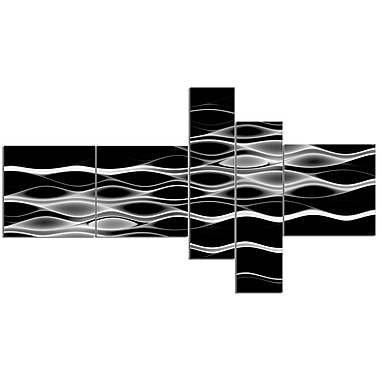 East Urban Home 'White Waves Fractal Pattern' Graphic Art Print Multi-Piece Image on Canvas