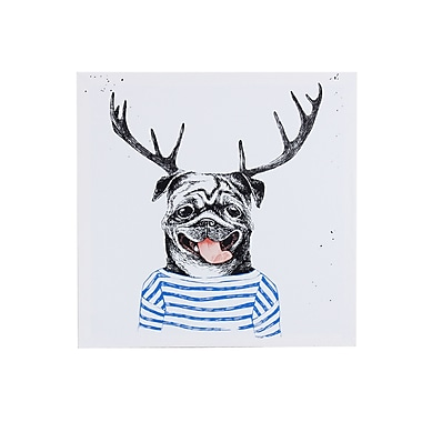 Ebern Designs 'Pug w/ Antlers' Graphic Art Print on Canvas