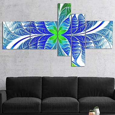 East Urban Home 'Green Blue Fractal Glass Texture' Graphic Art Print Multi-Piece Image on Canvas