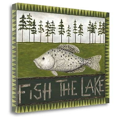 Tangletown Fine Art 'Fish the Lake' Graphic Art Print on Canvas; 24'' H x 32'' W