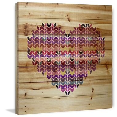 Marmont Hill 'Squiggle Heart' Painting Print on Natural Pine Wood; 18'' H x 18'' W