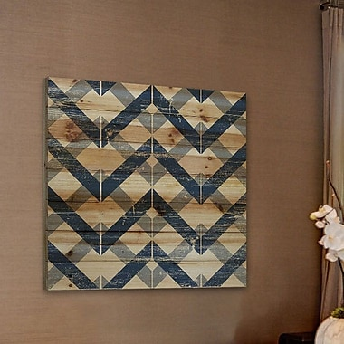 Marmont Hill 'Linkage' Painting Print on Natural Pine Wood; 18'' H x 18'' W