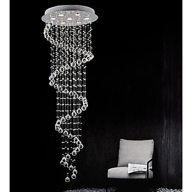 CrystalWorld Spiral 7-Light Flush Mount; 59'' H x 20'' W x 20'' D