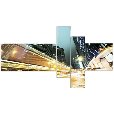 East Urban Home 'Traffic in Hong Kong at Night' Graphic Art Print Multi-Piece Image on Canvas