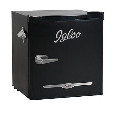 Igloo – Refrigérateur bar rétro FR176-BLACK de 1,6 pi cu avec ouvre-bouteille, noir