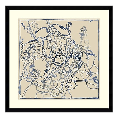 Amanti Art Framed Art Print 'Indigo Floral Sketch I' by Megan Meagher, 25
