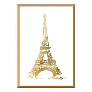 Amanti Art Framed Art Print 'Gold Foil Eiffel Tower Metallic Print' by Vision Studio, 32