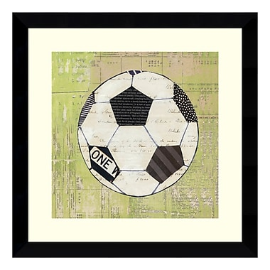 Amanti Art – Reproduction encadrée de « Baseball Play Ball I Soccer » par Courtney Prahl, 14 x 14 po (DSW3405409)