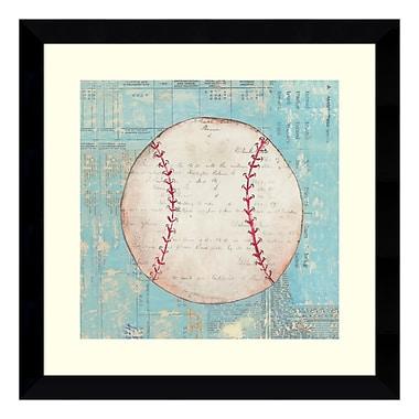 Amanti Art – Reproduction encadrée de « Play Ball I Baseball » par Courtney Prahl, 14 x 14 po (DSW3405411)