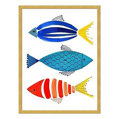 Amanti Art – Impression encadrée par Margaret Berg, « Trio de poissons d'été », 19 x 25 po (DSW3415943)