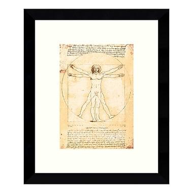 Amanti Art – Imprimé encadré de « Proportions du corps humain (Homme de Vitruve) » par Léonard de Vinci, 9 x 11 po (DSW3422411)
