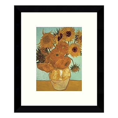 Amanti Art – Reproduction encadrée de « Sunflowers on Blue, 1888 » par Vincent Van Gogh, 9 x 11 po (DSW3422686)
