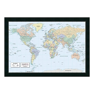 Amanti Art Framed Art Print '2016 World Map, Classic Political' by Mapping Specialists, 39