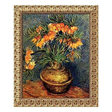 Amanti Art Canvas Art Framed 'Crown Imperial Fritillaries in a Copper Vase, 1886' by Vincent van Gogh, 20
